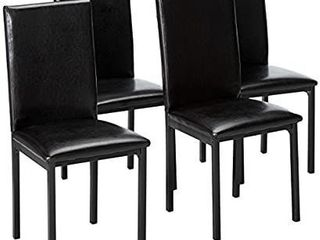 Urban Style Faux leather Dining Chairs with Black Metal Frame   4 Chairs