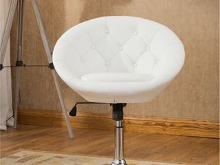 Roundhill Noas Contemporary Round Tufted Back Tilt Swiviel Accent Chair  White