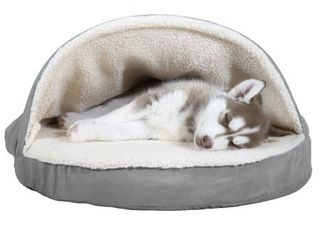 FurHaven Pet Dog Bed Orthopedic Round Faux Sheepskin Snuggery Burrow Pet Bed for Dogs   Cats  Gray  26 Inch