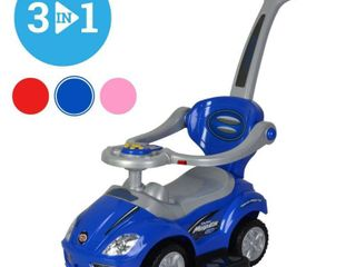Buy Chrome Wheels 3 in 1 Ride on Toys Pushing Car with Guardrail  Mega Car for Toddlers Wagon With Pushing Handle and Horn   Blue