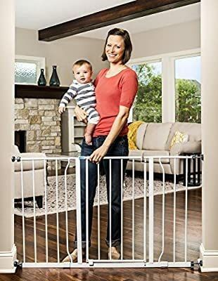 Regalo Easy Open 47 Inch Super Wide Walk Thru Baby Gate  Bonus Kit  Includes 4 Inch and 12 Inch Extension Kit  4 Pack Pressure Mount Kit and 4 Wall Cups and Mounting Kit