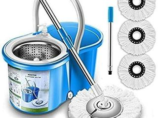 Aootek Upgraded Stainless Steel Deluxe 360 Spin Mop   Bucket Floor Mopping System Included EasyPress Handle with 3 Microfiber Mop Heads