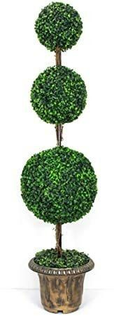 AMERIQUE Beautiful 5ft Density Triple Density Silk Artificial Tree Plant Indoor Outdoor UV Protected Boxing Wood Ball  with Decorative Pot  Real Tech Feel  Super Quality  Green Color