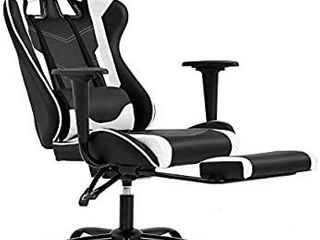 Ergonomic Office Chair PC Gaming Chair Desk Chair Executive PU leather Computer Chair lumbar Support with Footrest Modern Task Rolling Swivel Chair for Women  Men White  HAS TWO RIPS
