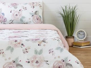 South Shore DreamIt White and Pink Duvet Cover Watercolor Floral  Retail 92 49
