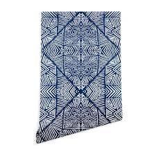 Marta Barragan Camarasa Indigo of Geometric Shapes of Watercolor Blackout Curtain Panel  Retail 78 48