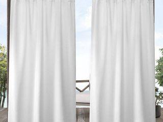 ATI Home Indoor Outdoor Solid Cabana Grommet Top Curtain Panel Pair