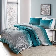 Coma Inducer Oversized Duvet Cover   Ombre Velvet Crush   Ocean Depths Teal Silver Gray  Retail 109 99