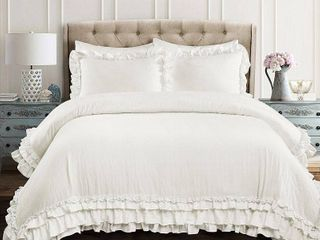 Silver Orchid Gerard Shabby Chic Ruffle lace Comforter Set  Retail 111 49
