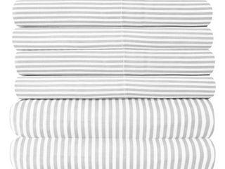 6 Piece loft Collection Modern Classic Pinstripe Bed Sheet Sets