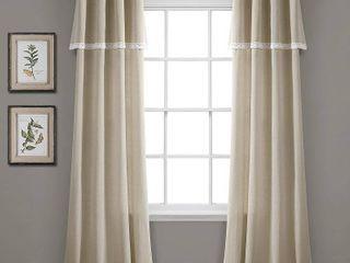 Set of 2 38 x84  linen lace light Filtering Window Curtain Panels Dark linen   lush DAccor