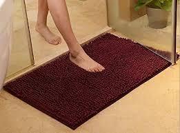 bath mat with anti skid back marron