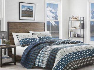 Eddie Bauer Blue Creek Plaid Quilt Sham Set  Retail 101 52