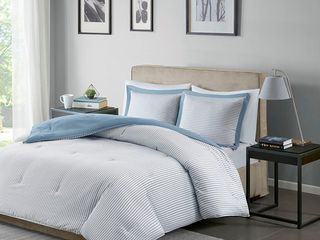 Madison Park Essentials Braydon Blue Reversible Stripe Down Alternative Comforter Set