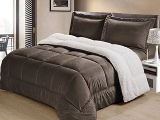 Copper Grove Pontica Ultra Plush Faux Suede and Sherpa 3 piece Comforter Set  Retail 92 99
