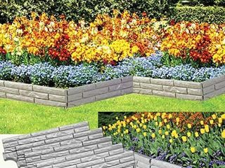 5PC  FAUX STONE GARDEN BORDER   COVERS 9FT  OF YARD