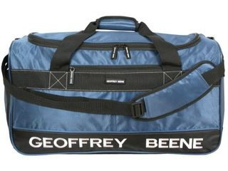 Geoffrey Beene 24  Blue Embroidered Duffle Bag