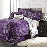Spirit linen Hotel 5Th Ave 6 Piece Foliage Collection Plush Reversible Comforter Set  Queen  Purple Ivory