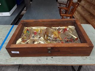 lot To Include Display Case With Fishing lures