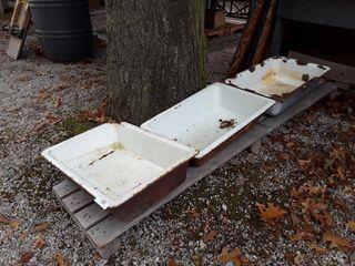 3 Vintage Sinks  2 Cast Iron  1 Enamel