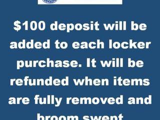 100 Deposit Will Be Added To Each locker