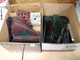2 BOXES OF STAINED GlASS