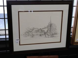 FRAMED PETER ROBSON SIGNED PRINT 16 X14