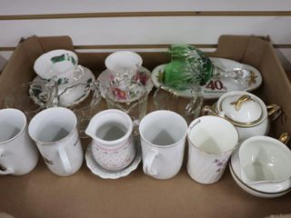 MUGS  CUPS AND SAUCERS  GlASSWARE ETC