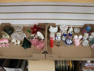 2 BOXES OF CHINA FIGURINES ETC