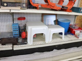 GROUP OF FOOT STOOlS  HARDWARE  CRAFTS ETC