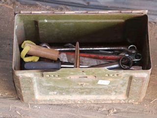 STEEl BOX OF WRENCHES  REAMER ETC
