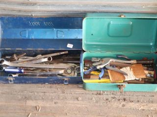 2 TOOl BOXES OF ASSORTED WRENCHES  DRIll BITS ETC