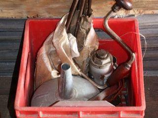 BOX OF FUNNEl  AUGER BITS   BRACE   HYDRUAlIC JACK