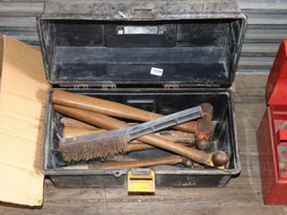 TOOl BOX OF ASSORTED HAMMERS