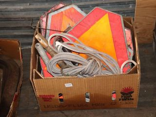 BOX OF SlOW MOVING VEHIClE SIGNS  HAMMERS  ETC