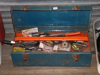 TOOlBOX OF HAMMERS  TAPE MEASURES   TOOlS