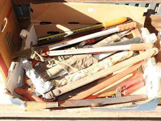 BOX OF PRUNING SAWS  SNIPS  NAIl PUllER ETC