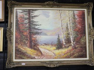 lARGE FRAMED OIl PAINTING 48 X36