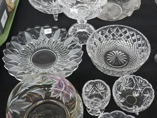 lARGE GROUP OF CUT GlASS DISHES ETC
