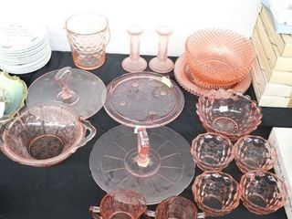 lARGE GROUP OF ASSORTED PINK DEPRESSION GlASSWARE