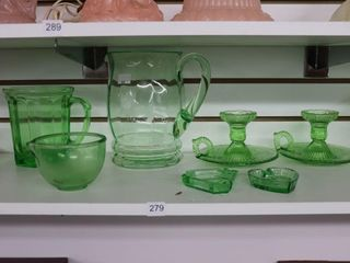 GROUP OF GREEN DEPRESSION GlASS DISHES