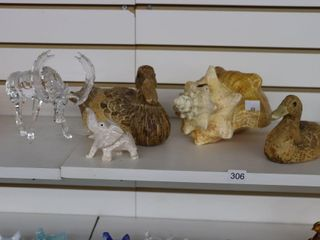 SHEll  2 WOOD CARVED DUCKS  GlASS MOOSE AND