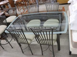 GlASS TOP TABlE AND 4 CHAIRS 64 X42 X30