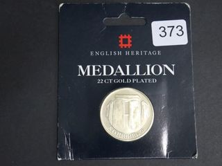 ENGlISH HERITAGE 22CT GOlD PlATED MEDAllION