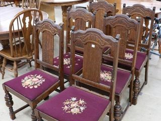 SET OF 6 ANTIQUE OAK CHAIRS WITH NEEDlE POINT