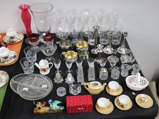 lARGE QTY OF STEMWARE  SAlT AND PEPPERS