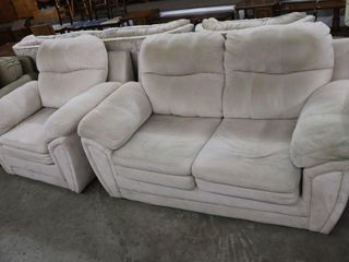 lOVE SEAT AND CHAIR  HAS WEAR   DISCOlOURATION