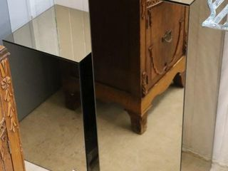 PAIR OF MIRRORED STANDS 12 X12 X30  AND12 X12 X20
