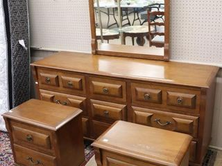 DRESSER WITH MIRROR AND AND 2 NIGHT STANDS