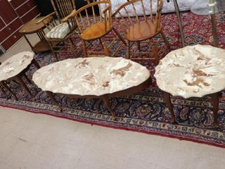MARBlE TOP COFFEE AND END TABlES   COFFEE TABlE
